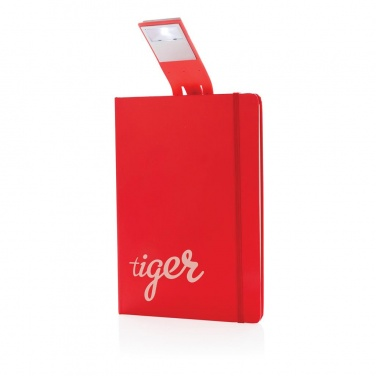 Logo trade promotional gift photo of: A5 Notebook & LED bookmark, red