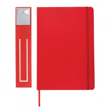 Logotrade advertising product picture of: A5 Notebook & LED bookmark, red