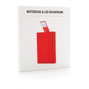 Logo trade business gift photo of: A5 Notebook & LED bookmark, red