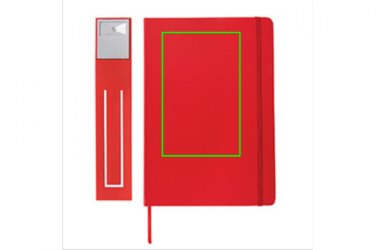 Logotrade promotional gift picture of: A5 Notebook & LED bookmark, red