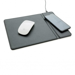 Logo trade advertising products image of: Mousepad with 5W wireless charging, black