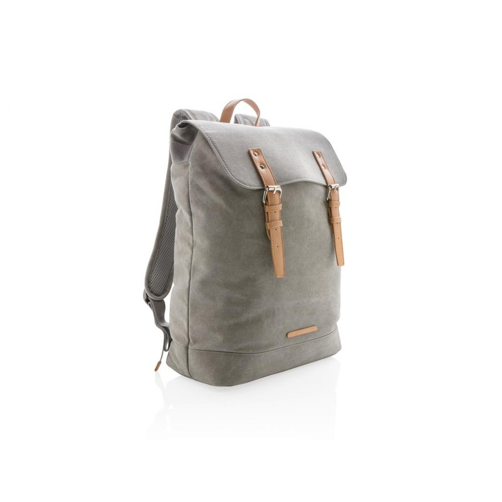 Logotrade promotional item picture of: Canvas laptop backpack PVC free, grey