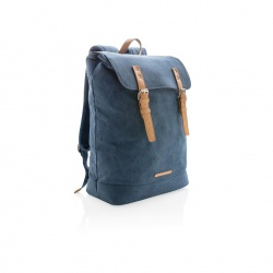 Logotrade advertising products photo of: Canvas laptop backpack PVC free, blue