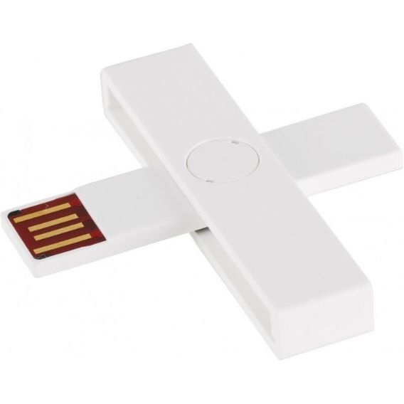 Logo trade business gifts image of: +ID smart card reader, USB, white