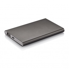 4000 mAh powerbank, grey, with personalized name, sleeve, gift wrap