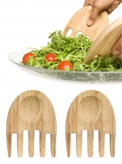 Oak hands salat serving set